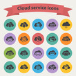 Black cloud service icons set