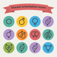 Sexual orientation black web icons