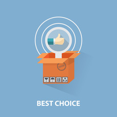 flat design shopping concept and the best choice