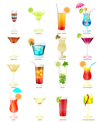 collection of popular cocktails.