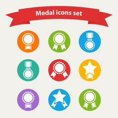 white medal,award icons set