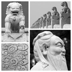 chinese antique sculptures collage