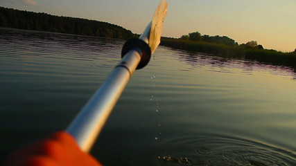 Kayaking on river, action camera angle, POV, tourism, sport