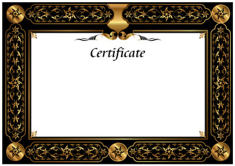 illustration; Gold Certificate Template