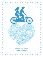 Vector doodle circle water texture couple on tandem bicycle