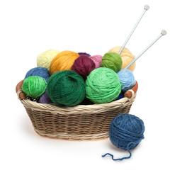 Knitting yarn balls and needles in basket