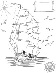 Old sailing ship with legend banner and wind rose