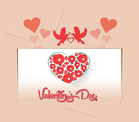 valentines card with heart flower