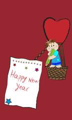 Niño en globo y happy new year.