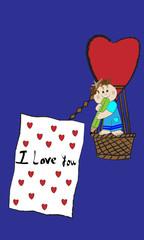 Niño en globo y Iove you.