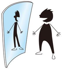 痩せて見える鏡をみる男性