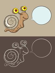 Snail cartoon, art vector illustration