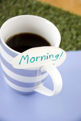 morning note on coffee cup