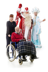 Russian Christmas characters, man on wheelchair