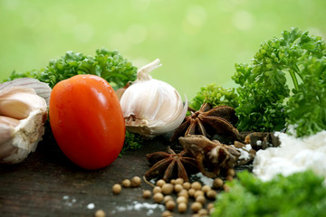 Food ingredients on the kitchen table