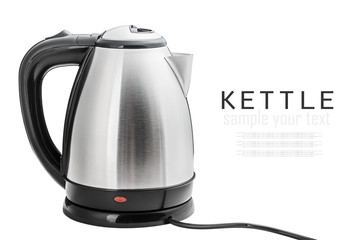 Stainless Steel Electric Kettle on the white background