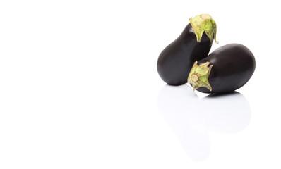 Black skinned eggplant over white background