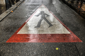 Street Crossing, Caution Pedestrians