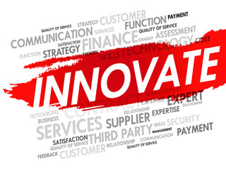 Word cloud of INNOVATE related items, presentation background