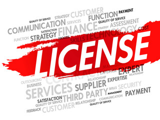 Word cloud of LICENSE related items, presentation background