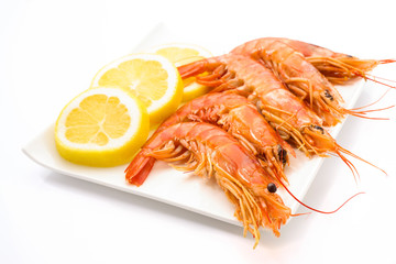 ordered prawns and lemon on a tray