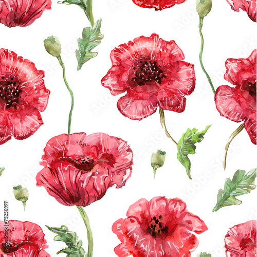 seamless texture with watercolor painting of poppies - 75250997