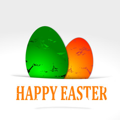 Two colored eggs with the words Happy Easter - vector svg