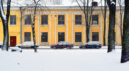 Landscape. Snowfall on the small city street
