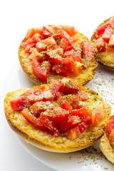 Italian bruschetta with tomato and italian bread frise