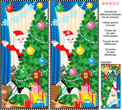 New Year or Christmas find the differences picture puzzle - 75253315