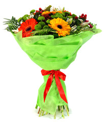 Bouquet of flowers in package