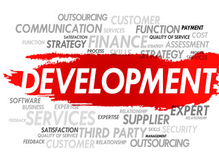 Word cloud of DEVELOPMENT related items, presentation background