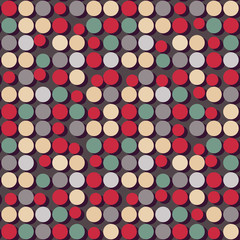 Seamless pattern of flat colorful circles