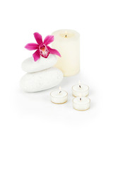 Spa decoration with orchid and candles with clipping path