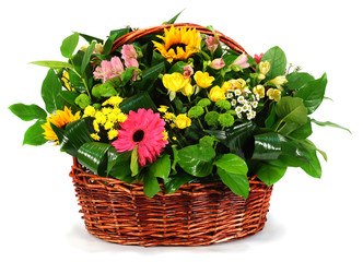 Basket of flowers and greens