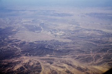 Egyptian desert and mountains from a plane