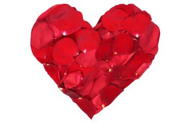 Herz aus Blüten von rote Rosen Thema Liebe zum Valentinstag ode