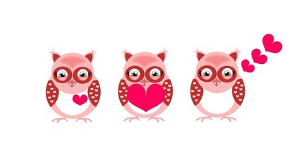 Three valentine's owls