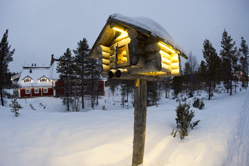 Lapland Elf Tower while snowing