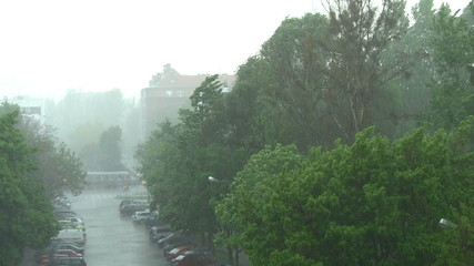 Heavy downpour in city