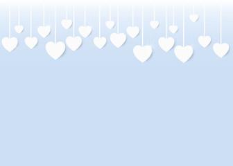 valentine card white hearts hanging blue background portrait