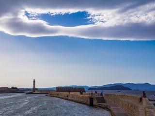 Hafenmauer von Chania auf Kreta