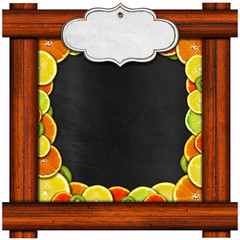 Blackboard with Wooden Frame and Fruit
