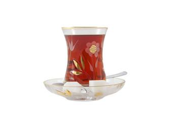 glass of traditional Turkish tea isolated on White background