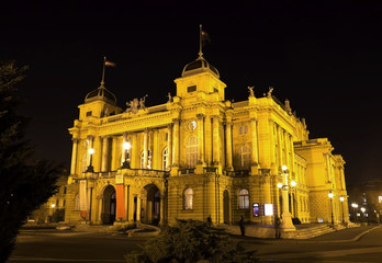 National theater in Zagreb, Croatia , night view