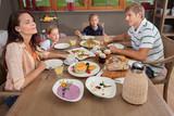 Family breakfast in hotel