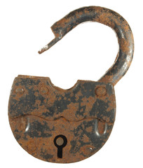 Old rusty padlock isolated on white background.