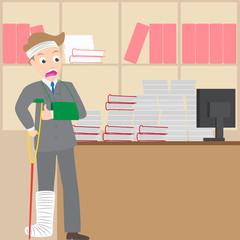 injured businessman boggle a pile of document on his desk