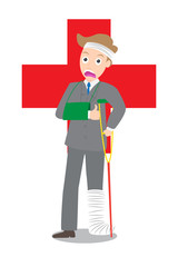 frown injured businessman in bandages with crutches on red cross
