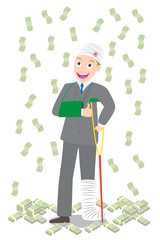 injured businessman in bandages crutches falling money